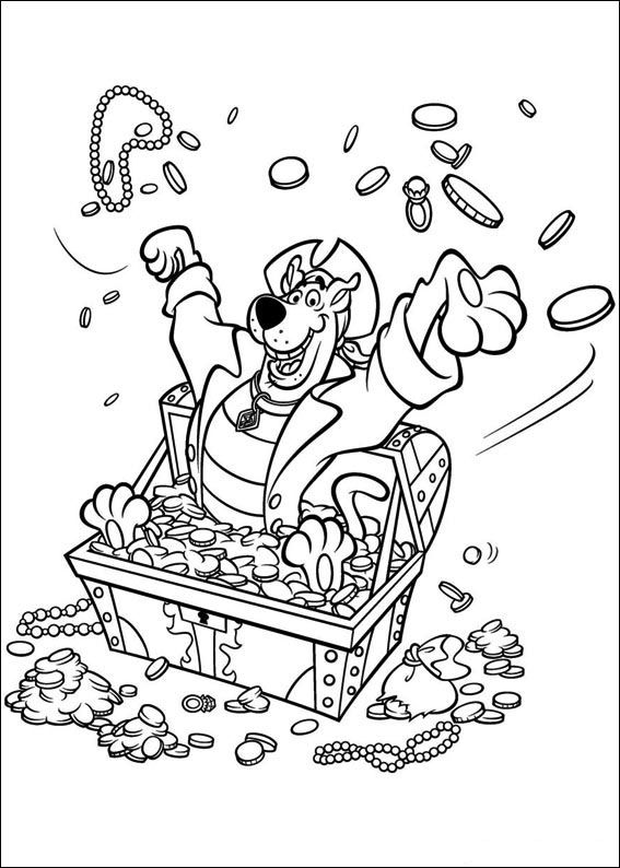 scooby doo colouring pages | Scooby Doo and chest of gold coloring ...