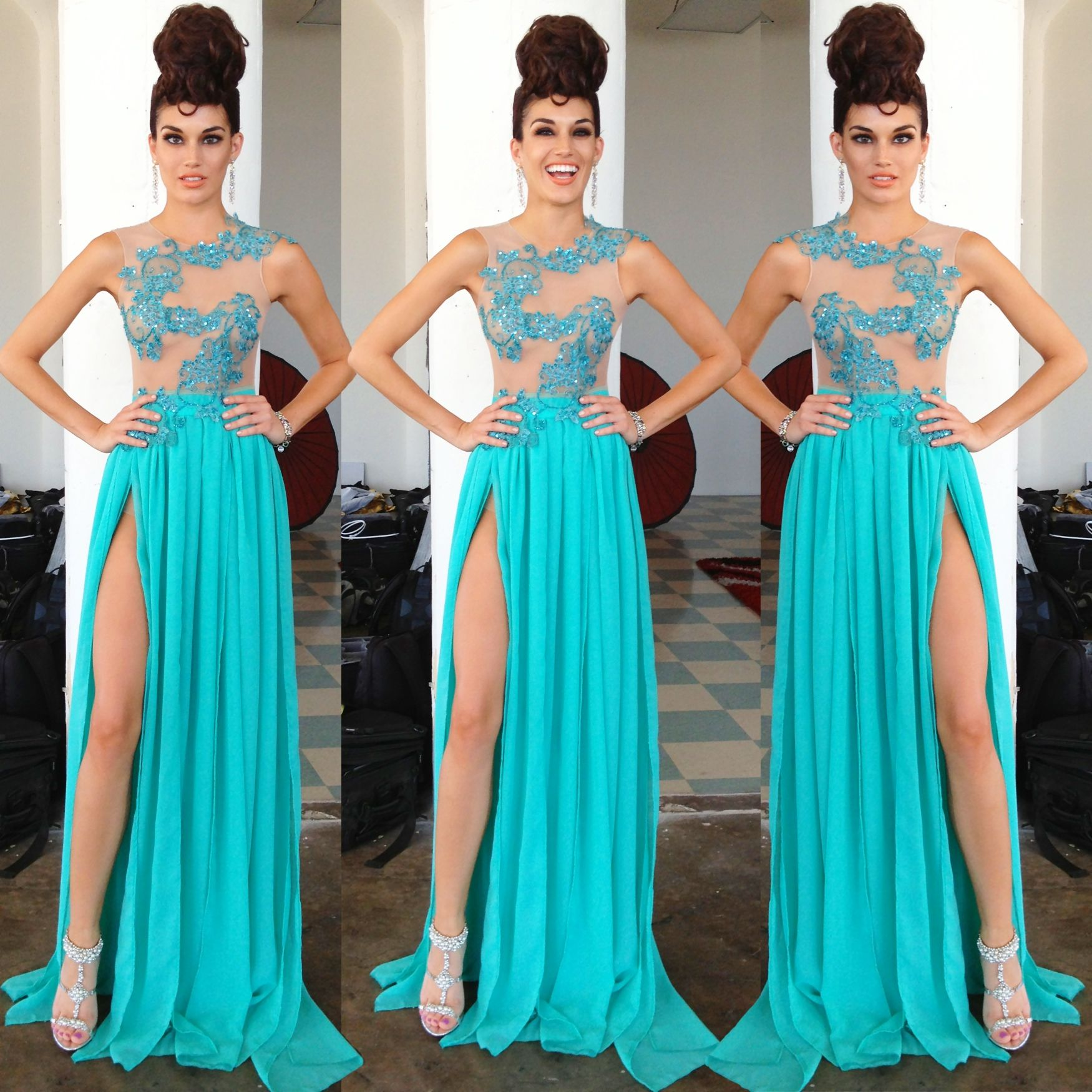 Aqua Beaded Chiffon Dress by Walter Mendez of Walter Collection ...
