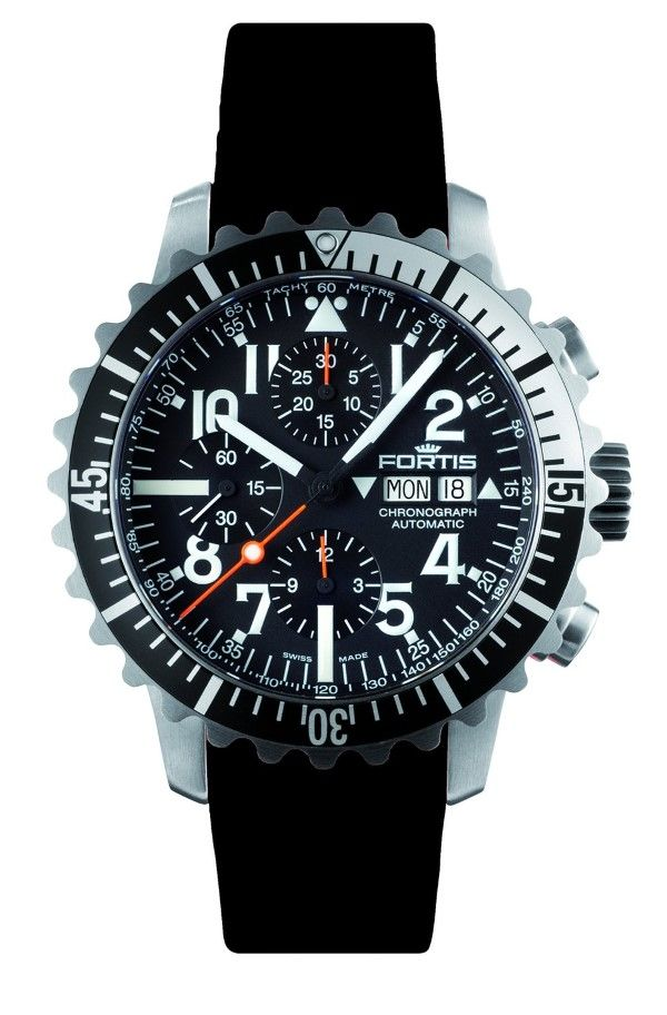men watches Fortis 671.17.41 K B-42 MARINEMASTER BLACK SILVER Mens  Chronograph Automatic Watch 5b36f177554