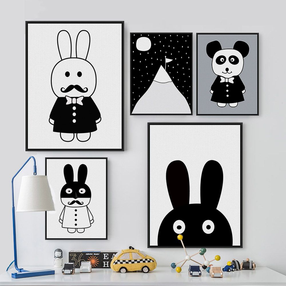 modernen minimalistischen nordic schwarz wei kawaii tiere a4 gro en kunstdrucke poster. Black Bedroom Furniture Sets. Home Design Ideas