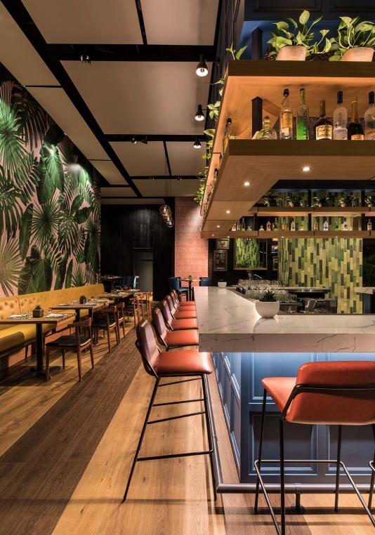 Sling Barstool Upholstered Nuans Modern Restaurant Design Bar Interior Design Bar Design Restaurant