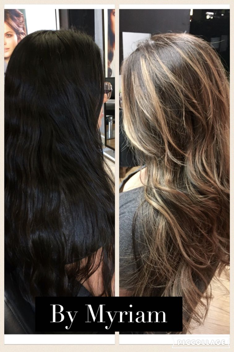 From Natural Black To Balayage Hair By Myriam At Hair Pleasures Salon La Habra Ca Dark To Light Hair Ash Hair Color Brunette Balayage Hair