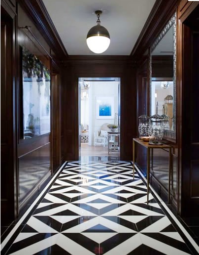 Black And White Marble Floor In Foyer Accent On Design