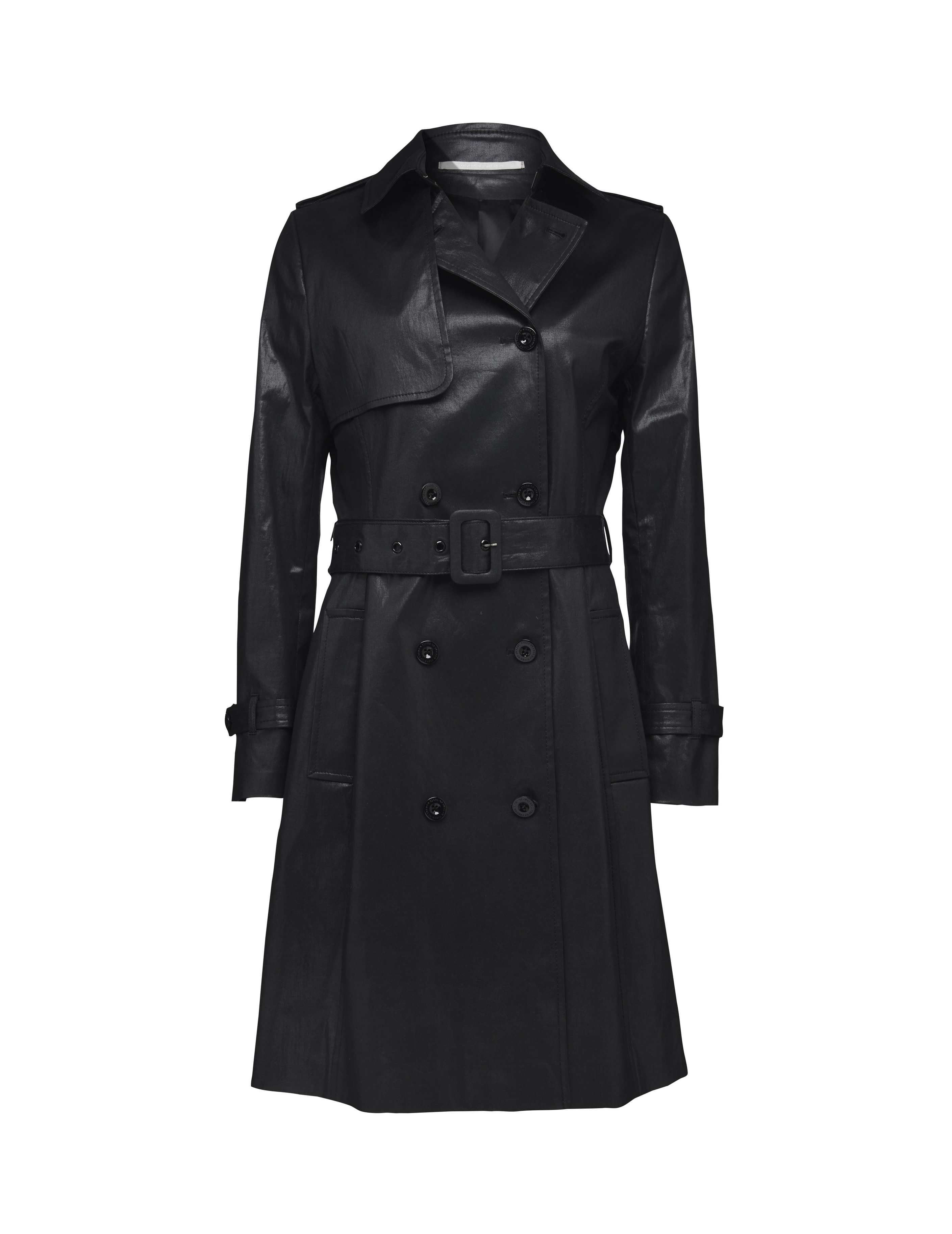 36ce8a8aad Tiene coat - Women's double-breasted coat in cotton with semi-lustrous  coating. Features hook and eye closure at collar and separate belt with ...