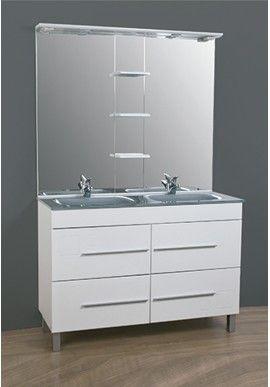 Conjunto de mueble de ba o cala 120 cm blanco gris con 4 - Muebles de bano con lavabo de cristal ...