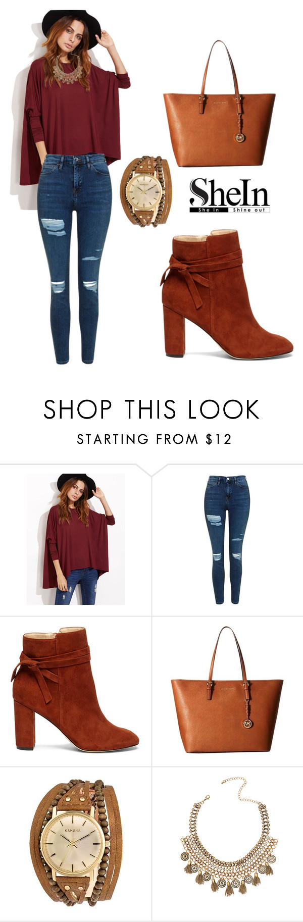 """""""SHEIN T-Shirt"""" by tania-alves ❤ liked on Polyvore featuring Topshop, Sole Society, MICHAEL Michael Kors and Kahuna"""