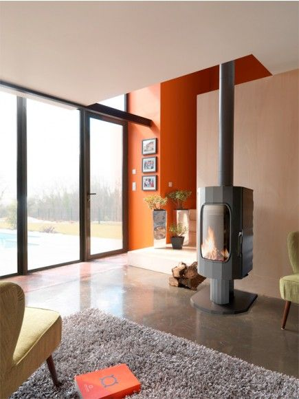 Love The Angles In The Room And Split Levels Poele A Bois Design