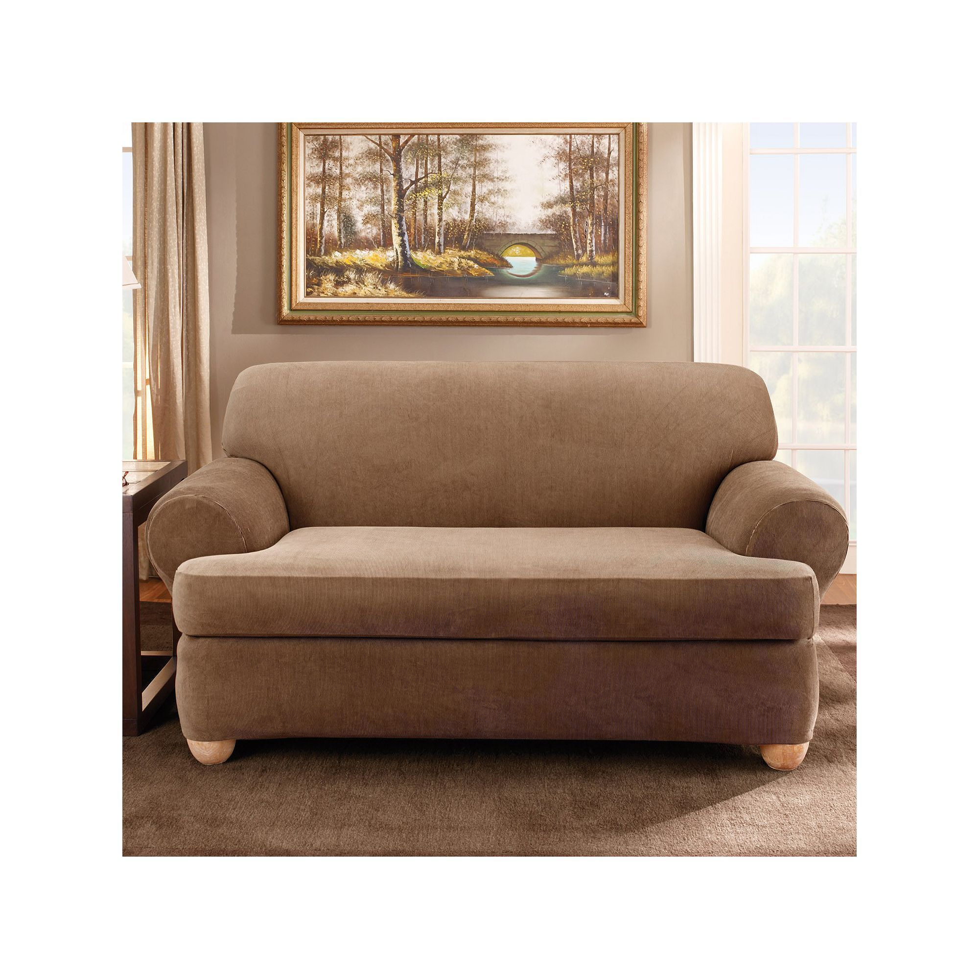 Sure Fit Striped T Cushion Loveseat Slipcover Brown
