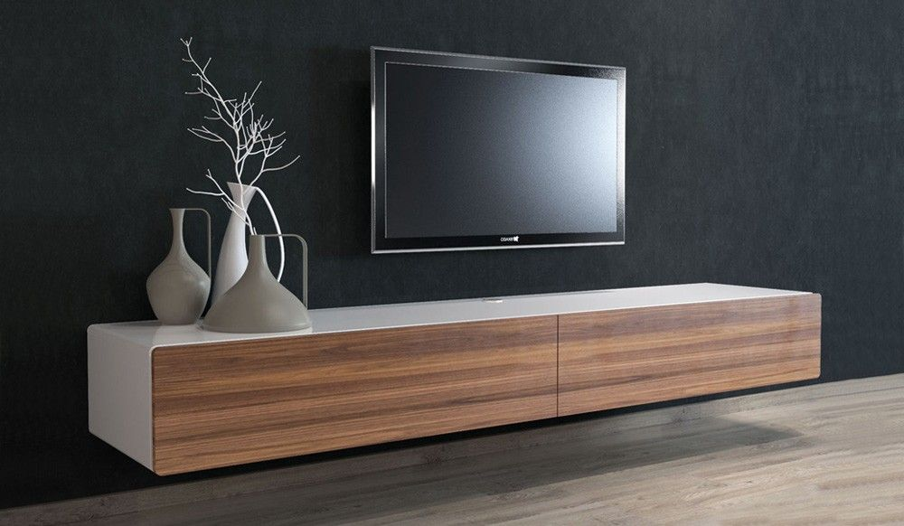 Ikon White + Walnut Floating Entertainment Unit