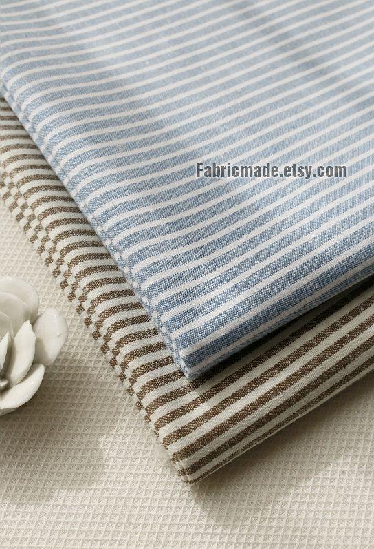 Yarn Dye Stripes Fabric Light Blue White Stripes Cotton Fabric Soft