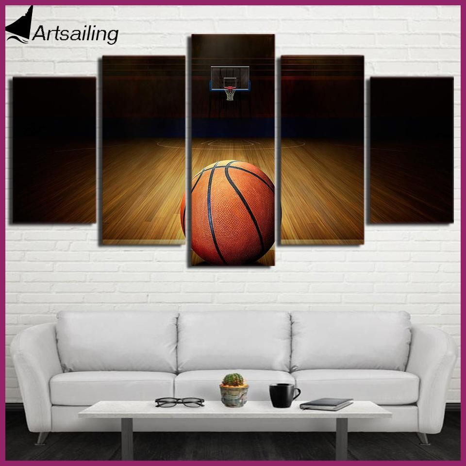 piece canvas art hd printed basketball course painting wall