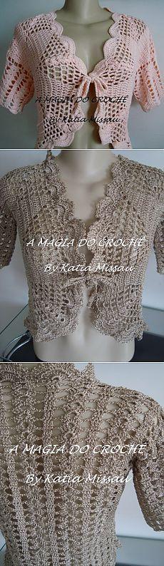Stylish openwork bolero - knit crochet.