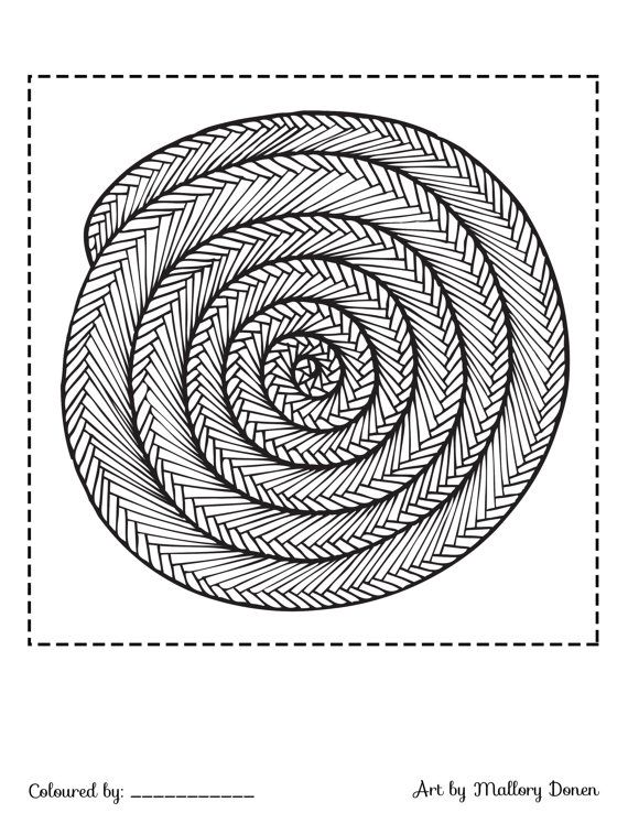 Spiral Adult Colouring Page Coil Snake Ladder By Artbymallorydonen