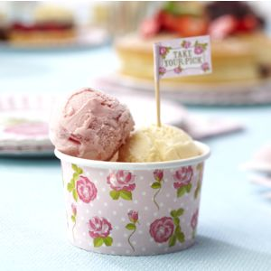 Shabby chic - Vintage rose ice cream tubs - (pack of 8) A very versatile little tub! These stunning little ice cream tubs are perfect for any summer gathering!