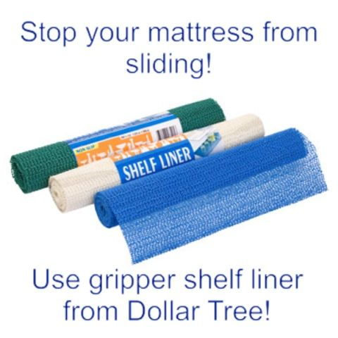Stop your mattress and bed skirt from sliding with Dollar Tree shelf liner.