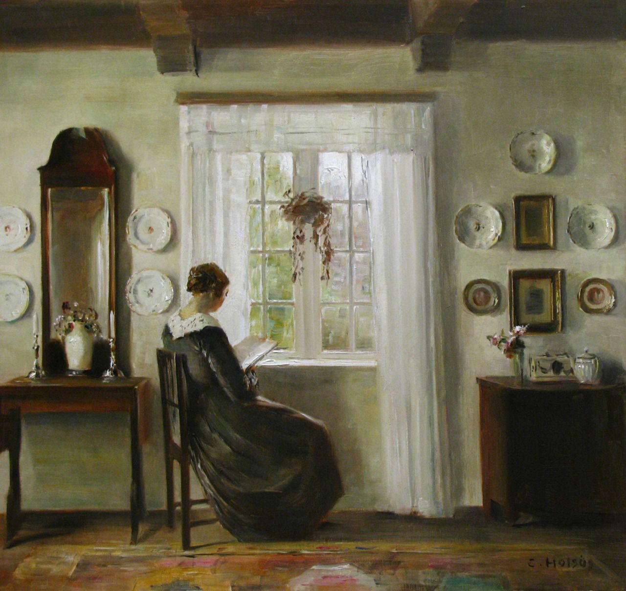 "laclefdescoeurs: ""Interior with the Painter's Wife Reading at the Window, Carl Vilhelm Holsøe """