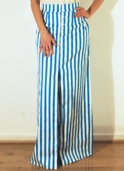 013f1da5f Teal + White striped maxi skirt. High waisted button down with front slit. <