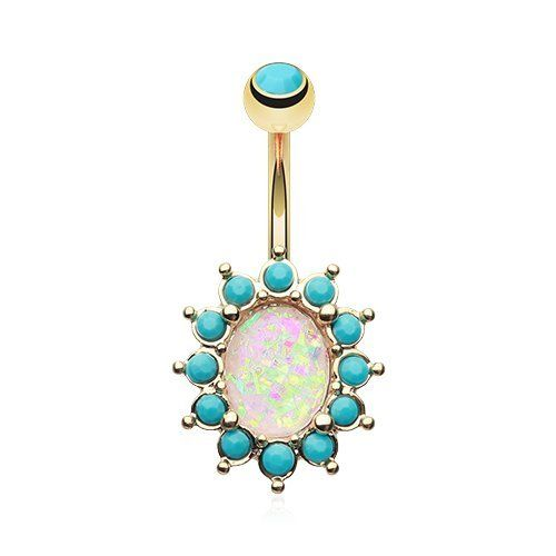 Golden Opal Turquoise Belly Button Ring Gold Plated 316L Surgical Steel - http://jewelry-and-watches.wegetmore.com/golden-opal-turquoise-belly-button-ring-gold-plated-316l-surgical-steel/