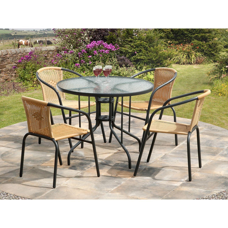 Beautiful 5 Piece Bambi Bistro Dining Set (Black), Patio Furniture (Glass)