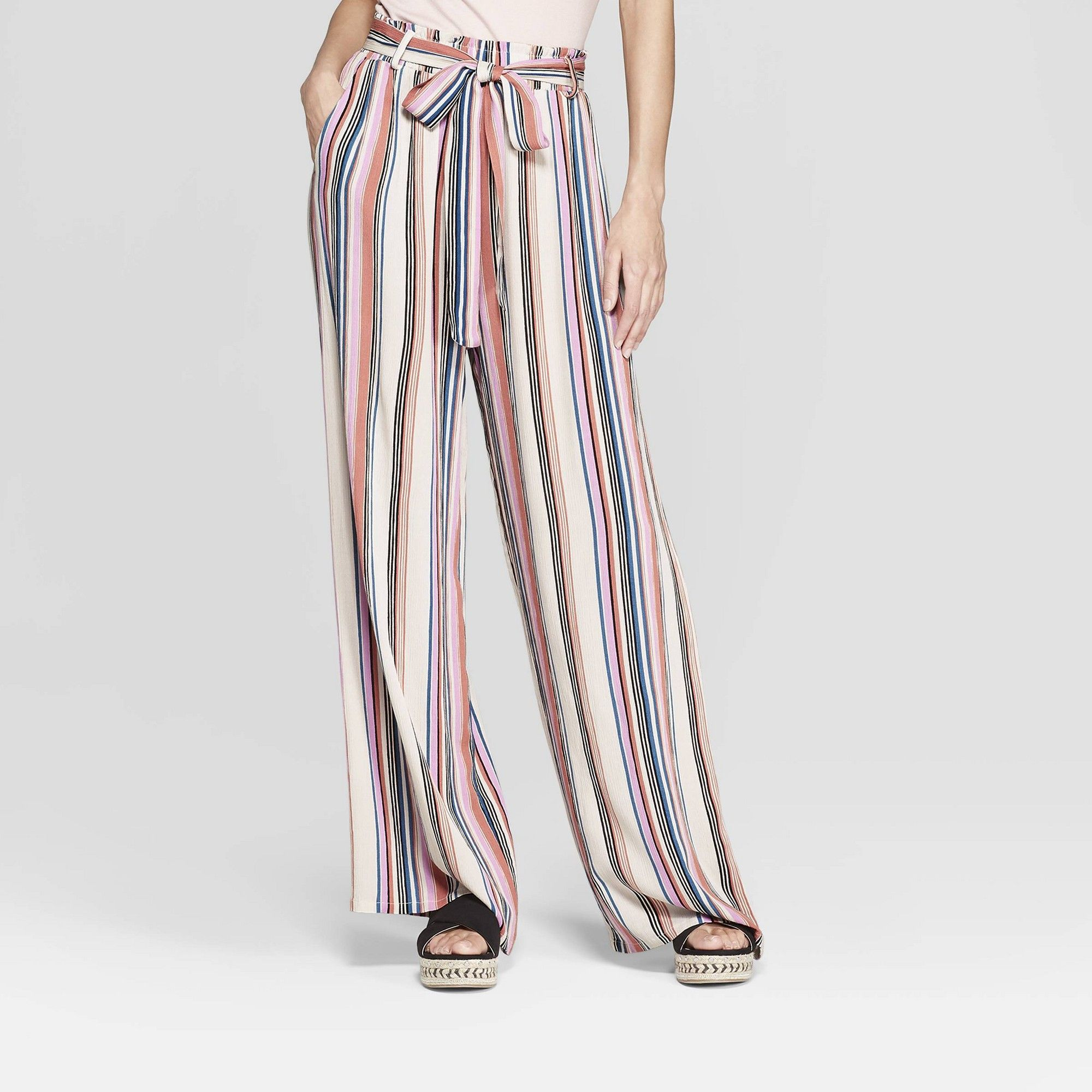 Women/'s open wide Stretchy fitting Palazzo Pants front waist tying laces