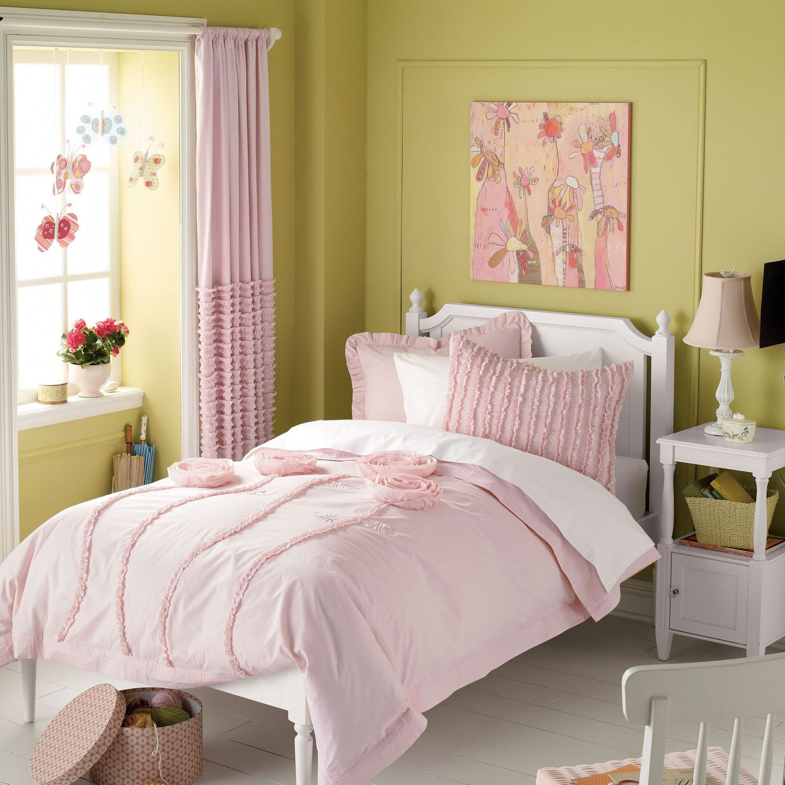 Bedroom:Minimalist Style Of Girl Room Paint Ideas Pink Bedding Of Single Bed White Nightstand Night Lamps White Single Bed Pink Curtain Pink Blanket White Flooring White Small Chairs Pink Flowers Minimalist Girl Bedroom Picture Ideas