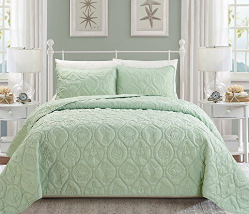 Queen Cal King Bed Turquoise Blue Beach Coastal Seashells 3pc Quilt Set Coverlet