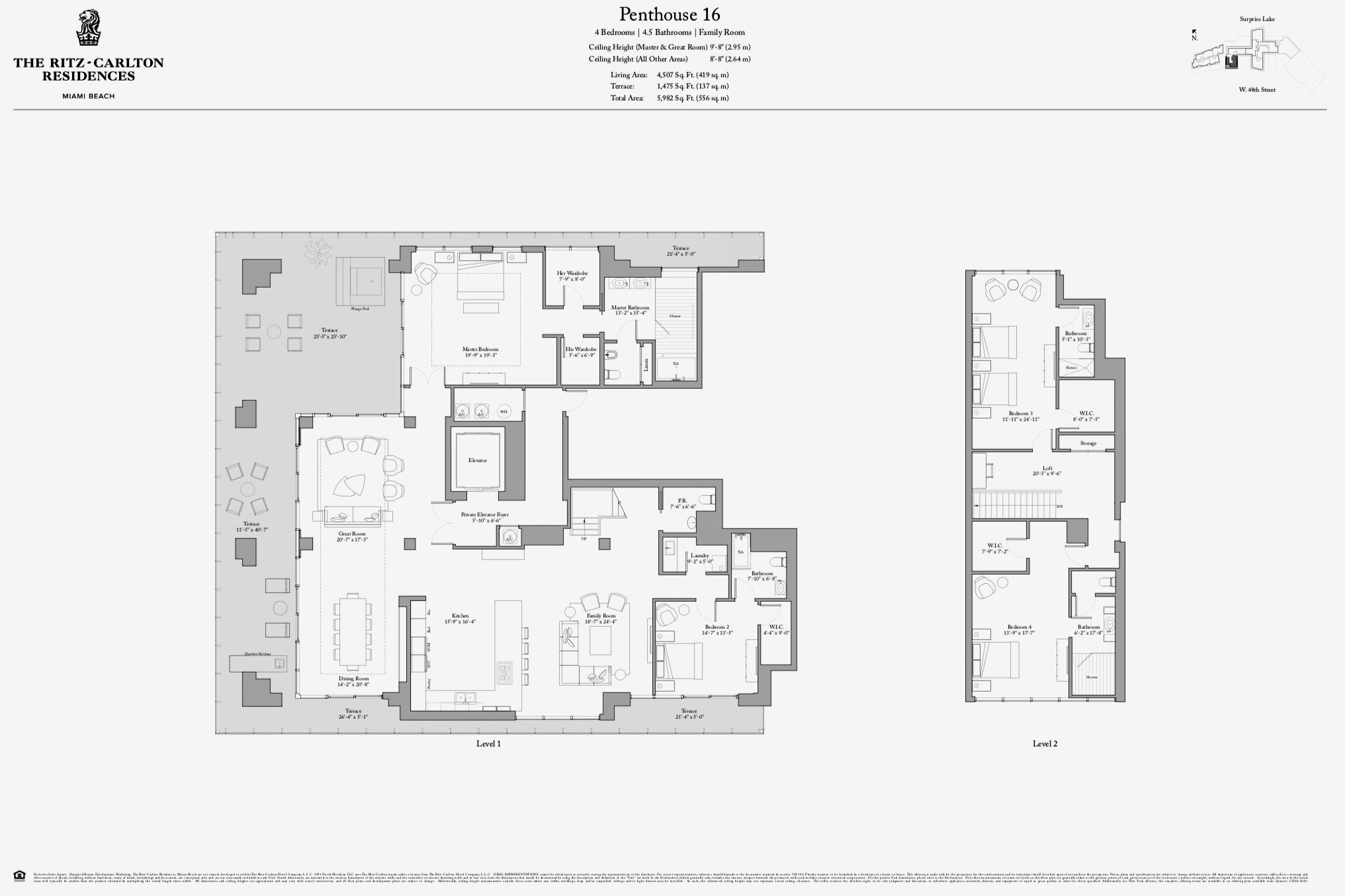 The Ritz Carlton Residences Miami Beach Penthouse 16 Miami Beach Condo Hotel Plan Miami Beach Penthouse