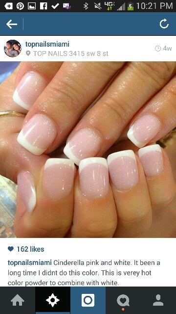 Cinderella pink and white French manicure #solarpowder #colorpowder #notpolish