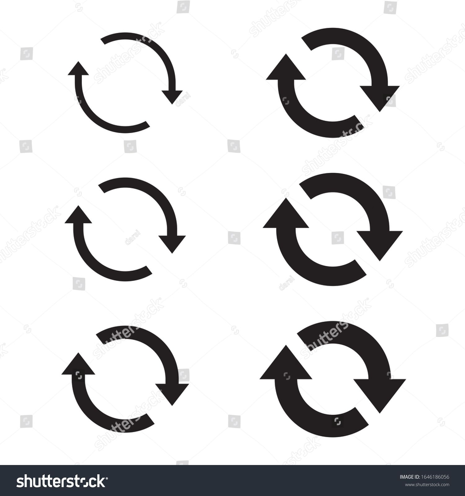 Circle arrow icon set, refresh, reload, rotation, reset