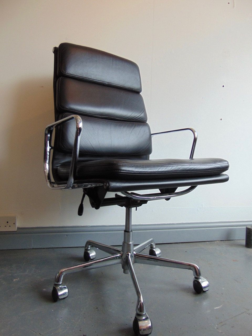 An Original Vintage Soft Pad High Back Black Leather Office Chair