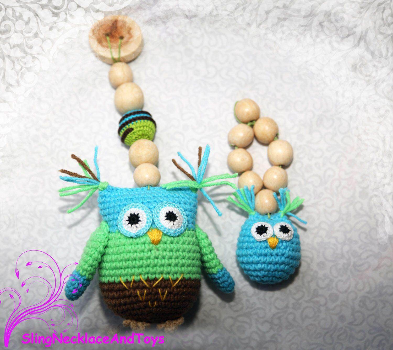 Crochet Owl Teether Teething toy Rattle owl  Owl pendant   Owl plushie Crochet birds Rattle Baby shower gift Stroller toy by SlingNecklaceAndToys on Etsy https://www.etsy.com/listing/293689223/crochet-owl-teether-teething-toy-rattle