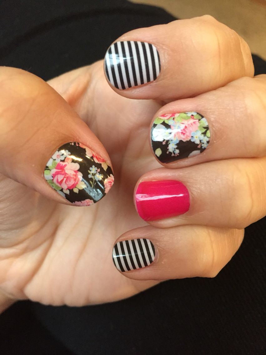 My first go at Jamberry styling - Sweet Nothing, Black & White Skinny and Haute Pink.