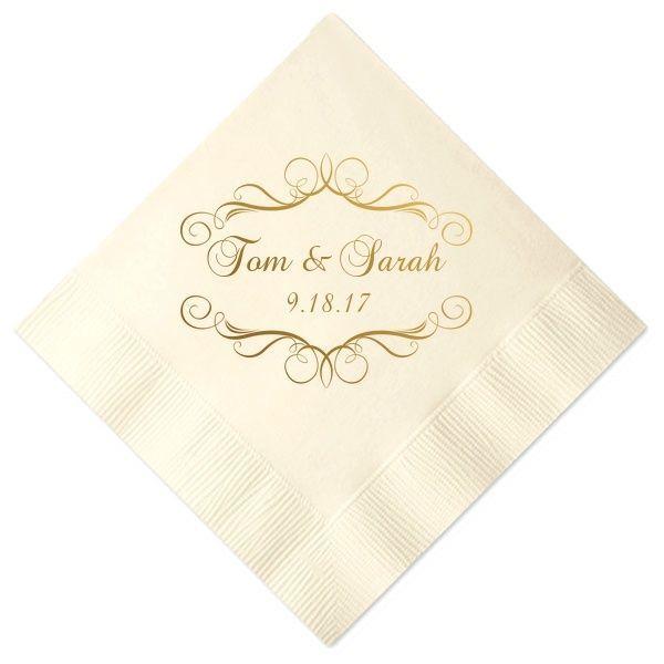 Fancy Scroll Personalized Wedding Napkins