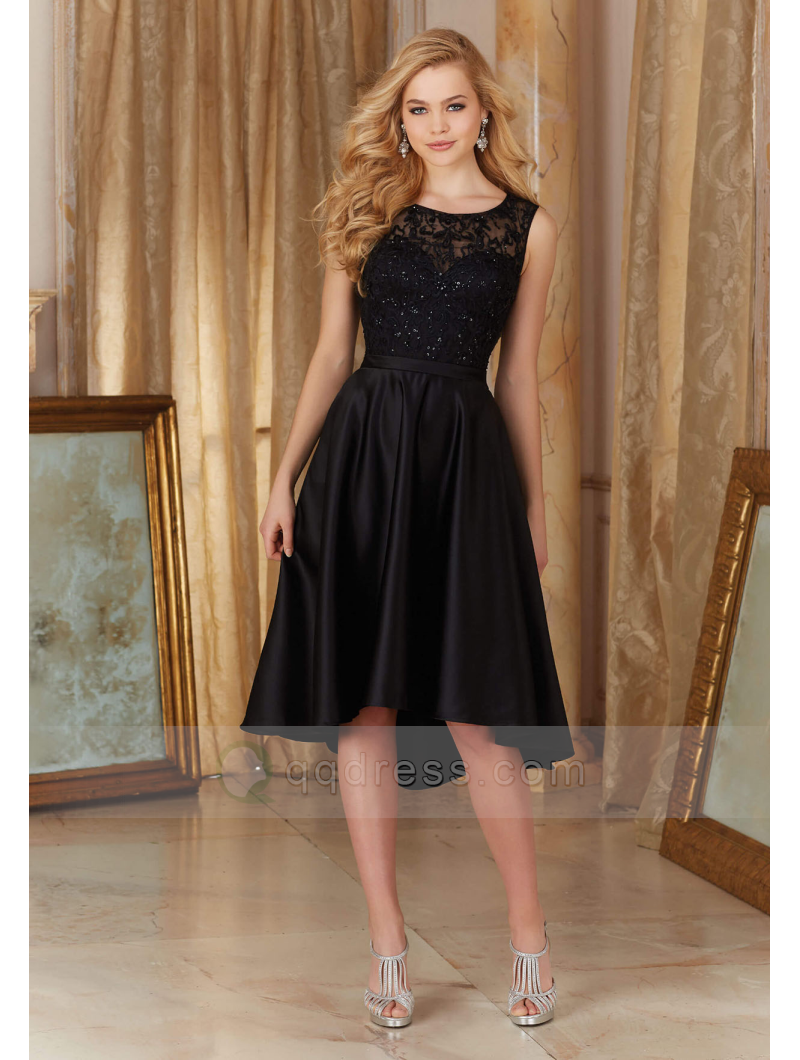Buy Beaded Embroidery Bodice Satin Little Black Dress High Low Bridesmaid Dress