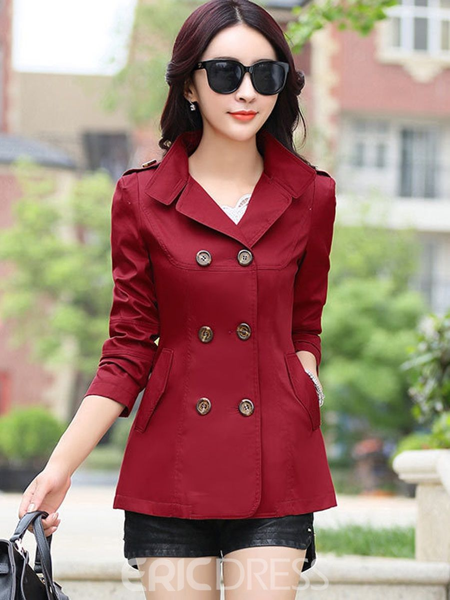 3bd1ee2e86858 ... Jackets for Women. Classic Plain Double-Breasted Short Trench Coat