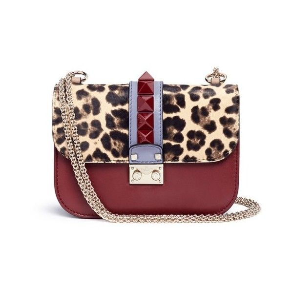 815b4585118a Valentino 'Rockstud Lock' small leopard print calf hair chain bag ($2,615) ❤