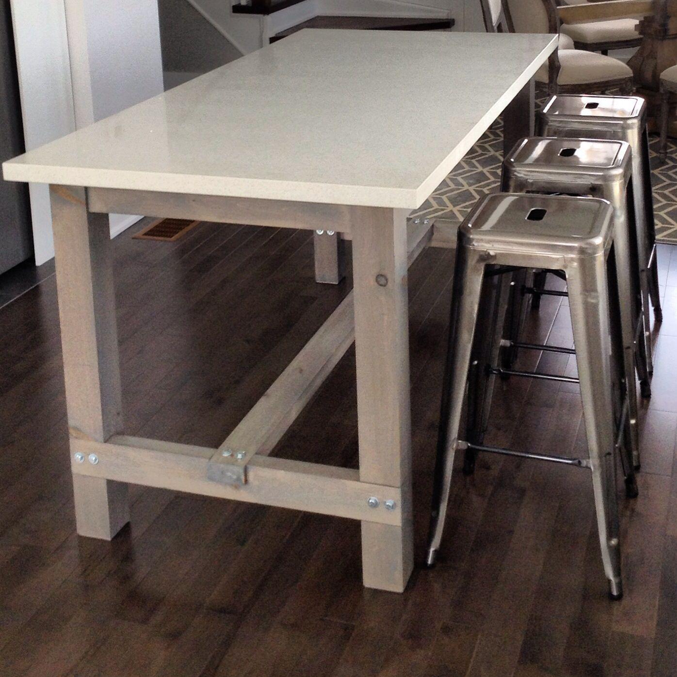 diy kitchen tables braun appliances harvest table island with white quartz counter