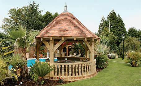 Round Solid Oak Garden Gazebo With Tiled Roof And Floor
