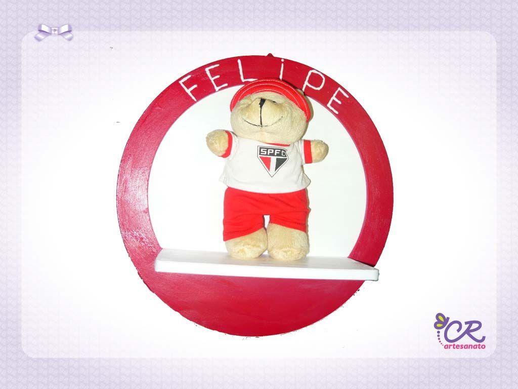 Porta Maternidade Oval com urso SPFC