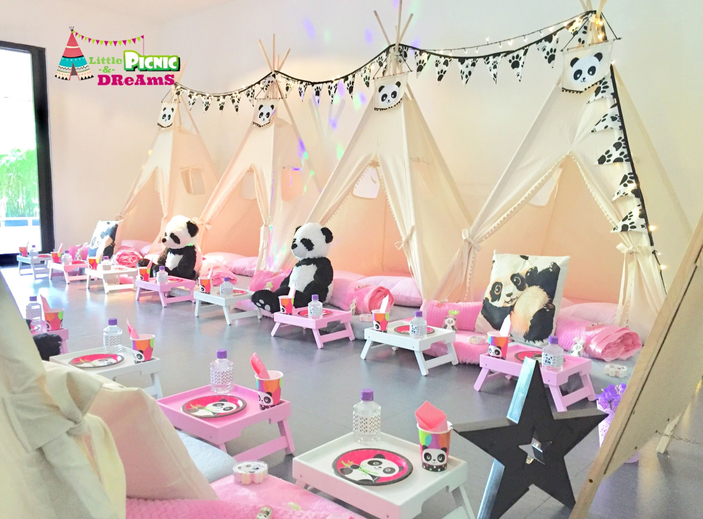 a92d36a5c Fiesta de Pijamas. Pijamada. Pijama Party. SleepOver. Tema  Pandas  www.lpdreams.com  little.picnic  teepees  pijamadas  pijamaparty  sleepover   pandaparty