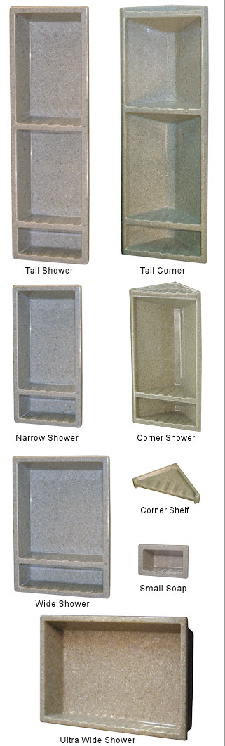You have options like these for shower shampoo niches in the wall:  The Onyx Collection - Caddies