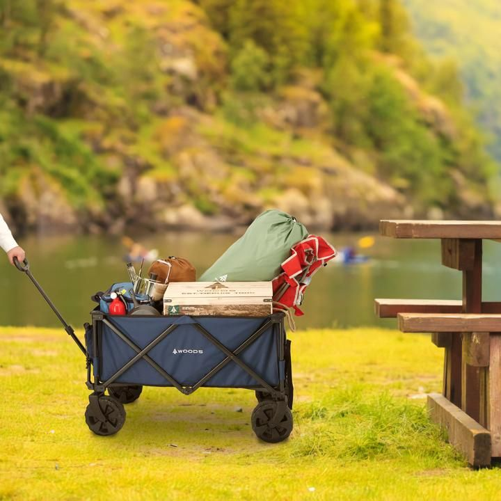 Woods Outdoor Collapsible Utility King Wagon - 225 lb Capacity - Navy   Woods