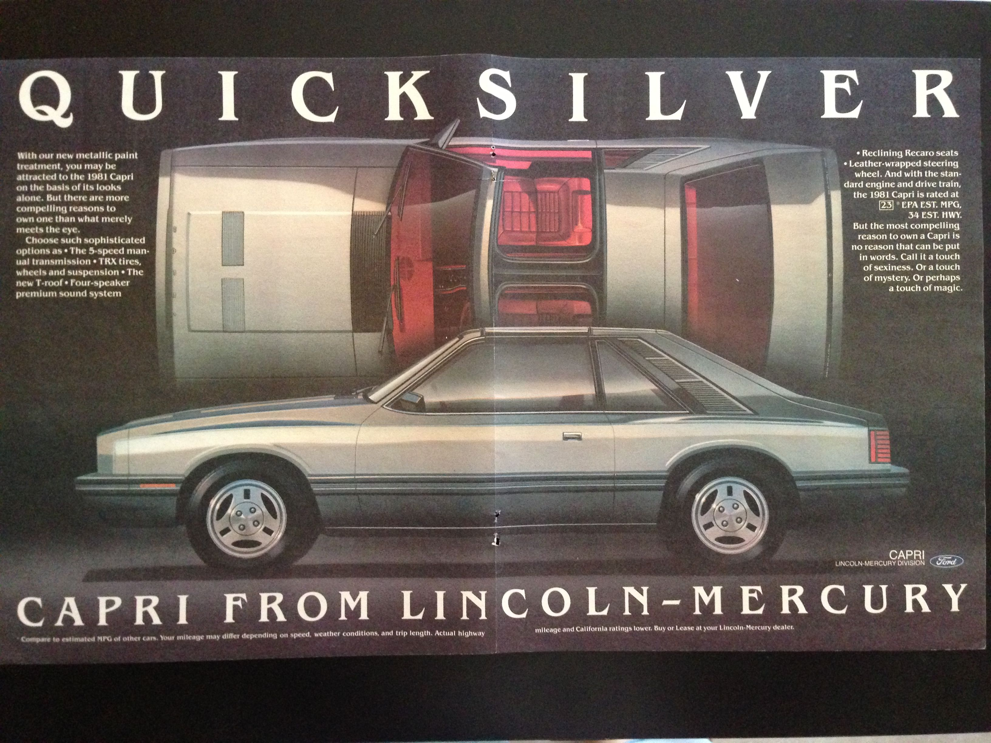 1981 Mercury Capri Advertised As Lincoln Mercury Dual Page Ad Mercury Capri Lincoln Mercury Car Advertising