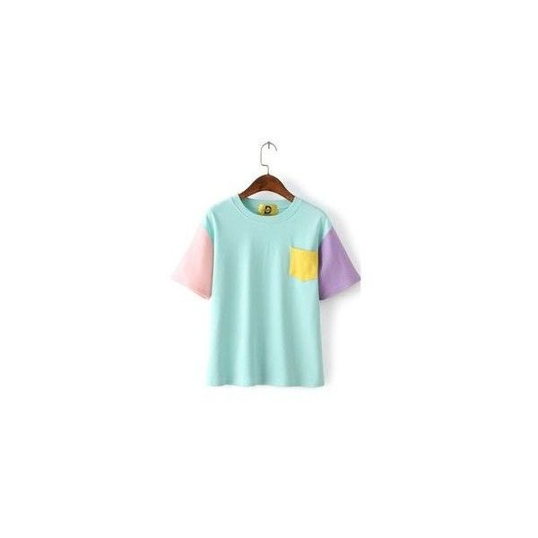 Color Block Crewneck T-Shirt (52 BRL) ❤ liked on Polyvore featuring tops, t-shirts, tees, women, color-block tee, color block tops, sleeve t shirt, colorblock t shirt and block t shirt