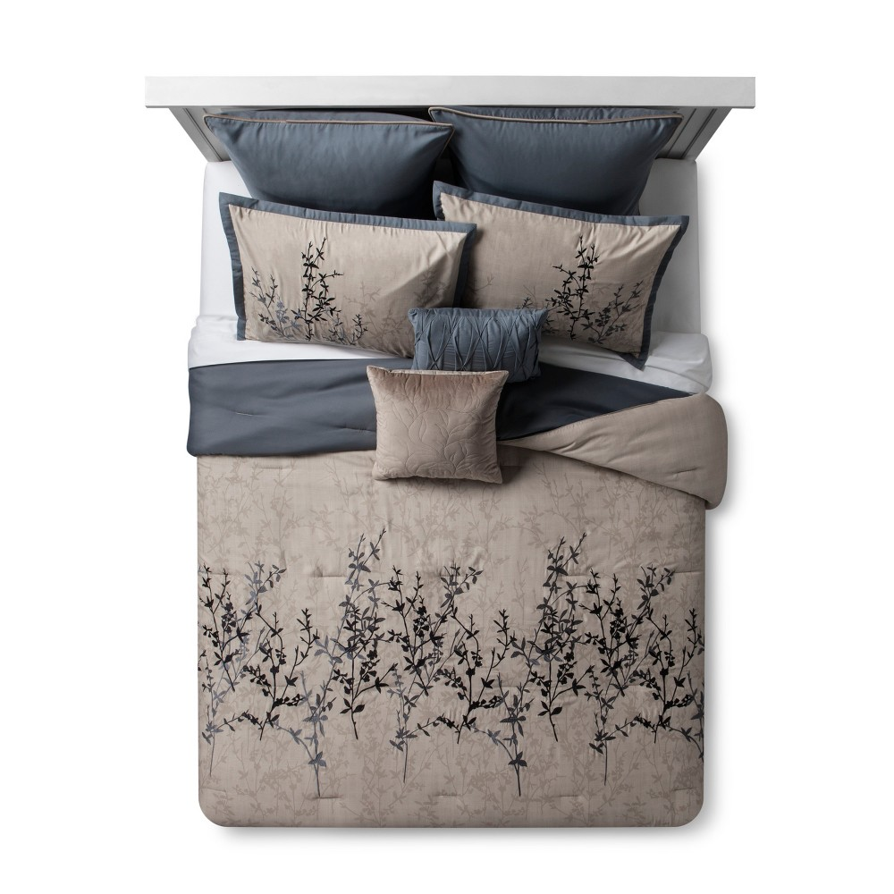 Blue Taupe Embroidered Hexton Comforter Set King 8pc Blue