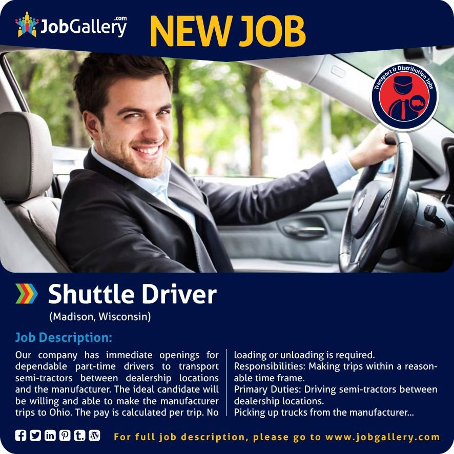 SEEKING A SHUTTLE DRIVER - MADISON, WI #jobs #jobopening