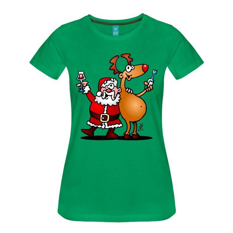 #Tshirt #Weihnachten #Christmas Weihnachtsmann und seine Rentiere heben ihre Gläser Wein zu wünschen allen ein frohes Weihnachtsfest. #Spreadshirt #Cardvibes #Tekenaartje #SOLD