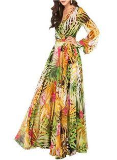 7090055835e3 Ericdress Tropical Flower Print V-Neck Long Sleeve Maxi Dress | arts ...