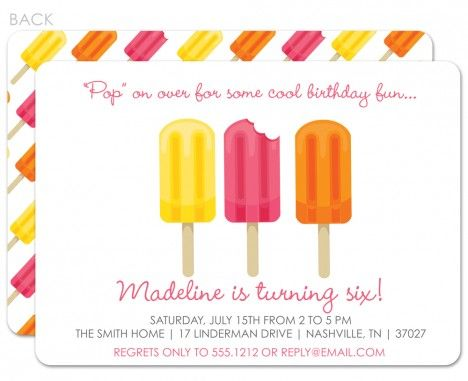 Popsicle Birthday Invitation (Pink) Popsicle party, Party - fresh invitation for birthday party by email