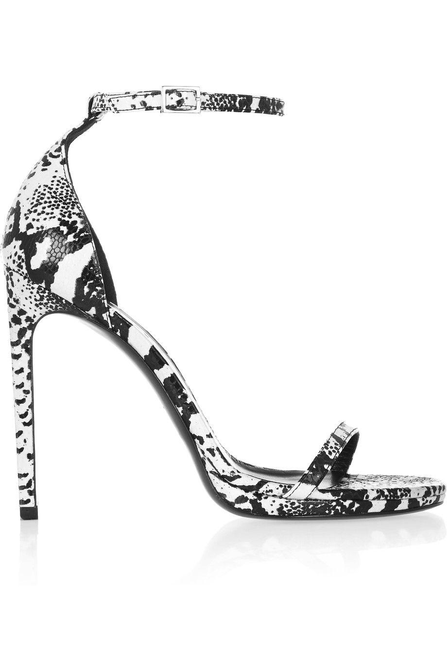 SAINT LAURENT Jane Lizard-Effect Leather Sandals. #saintlaurent #shoes #sandals